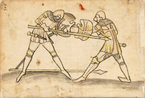 An image from the Codex Wallerstein, A German fighting manual from 1556.